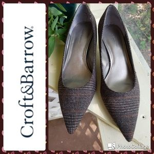 Croft & Barrow Brown Glen Plaid heels